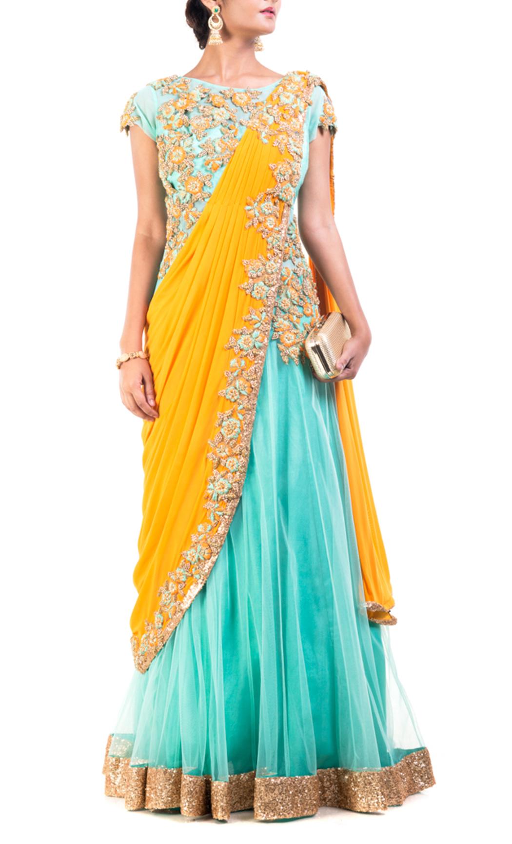 Aquamarine & Mustard Yellow Gown Saree