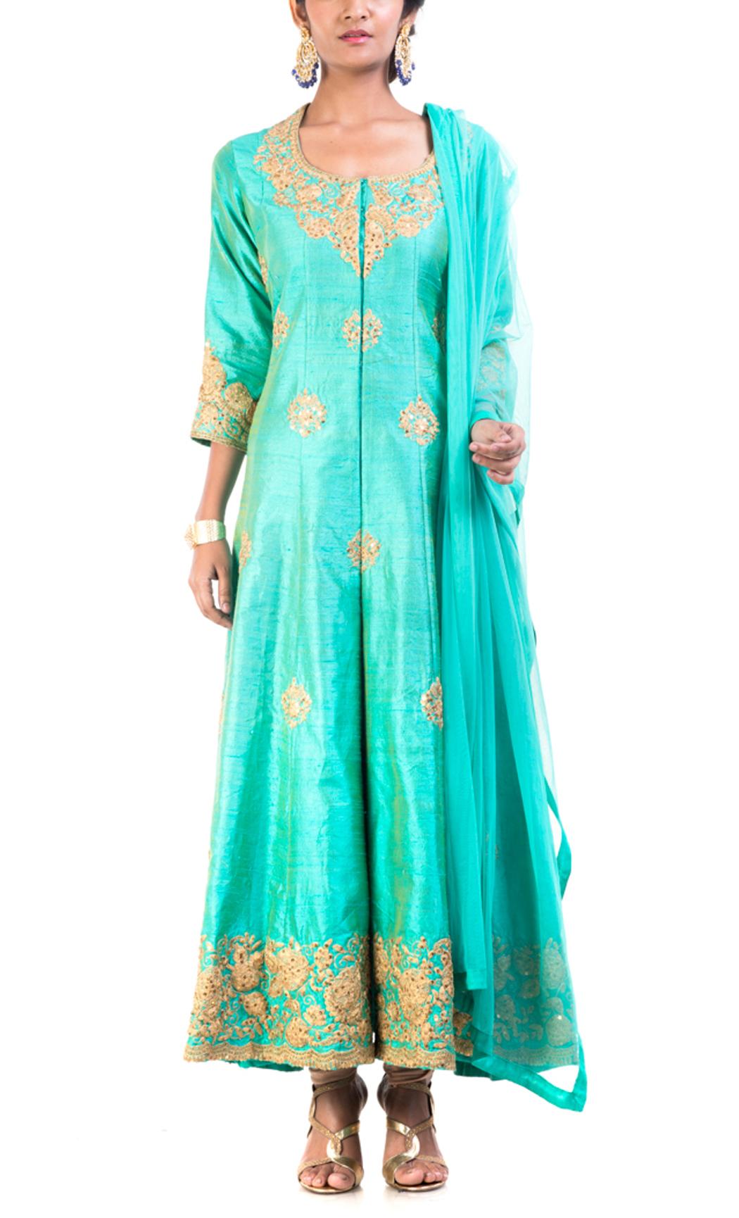 Turquoise Raw Silk Floral Kurta Set