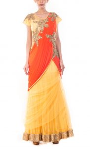 Macaroon Yellow Gown Saree