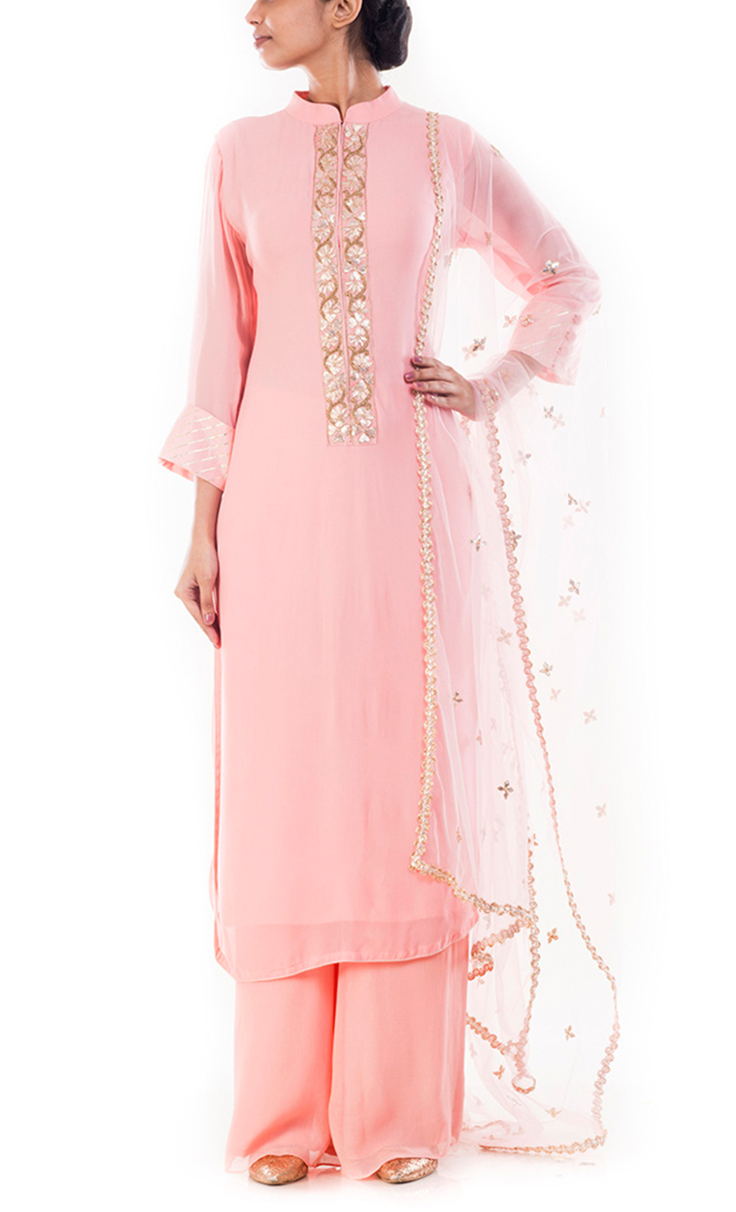 Blush Pink Embroidered Kurta and Palazzo