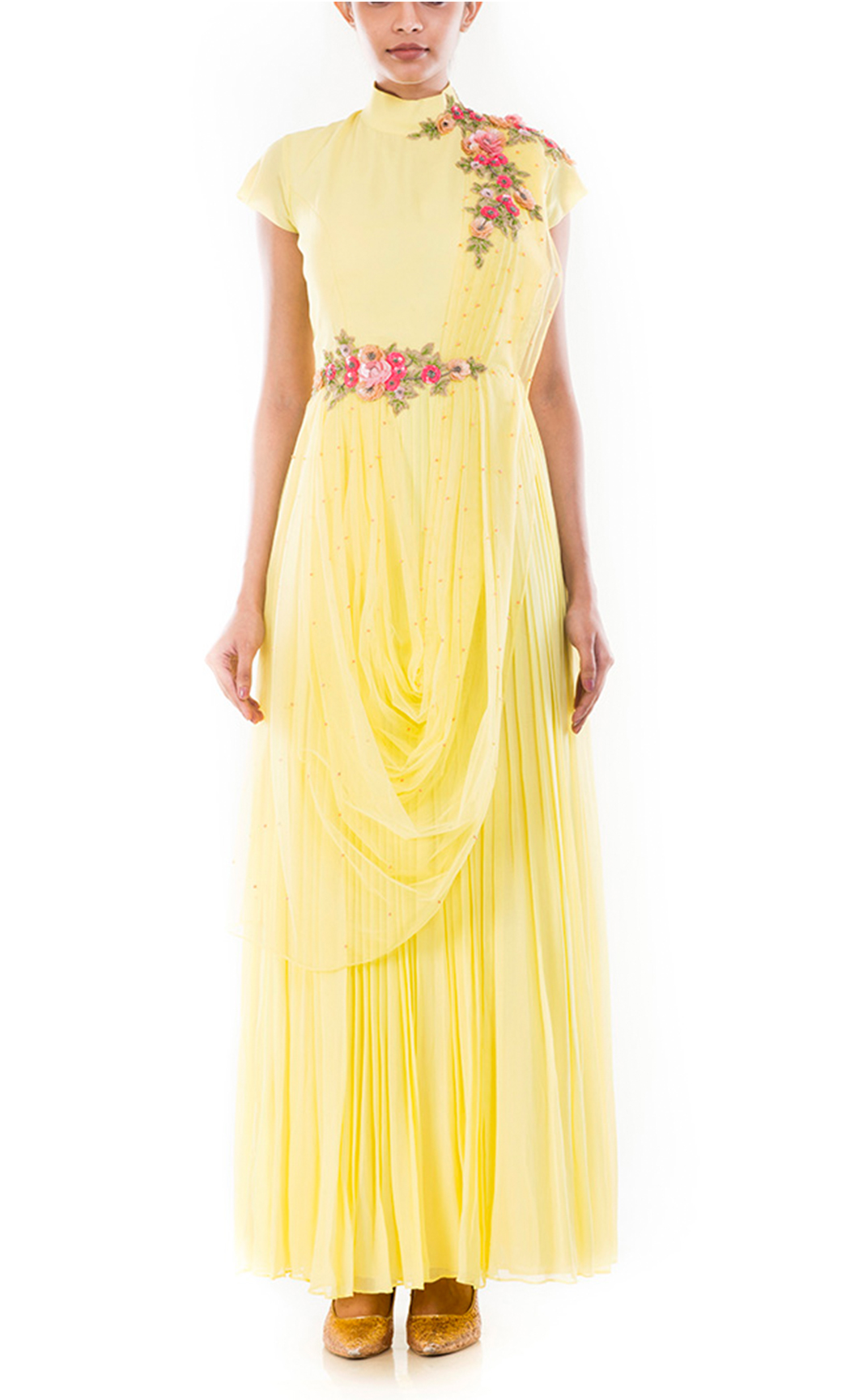 Butter Yellow Drapped Gown