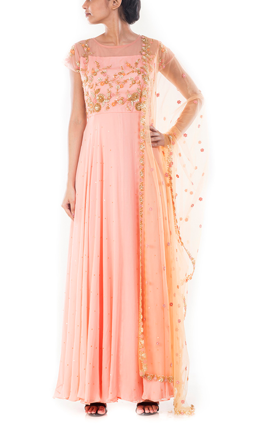 Light Salmon Flare Kurta