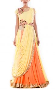 Yellow Corn & Peach Lehenga Gown Saree