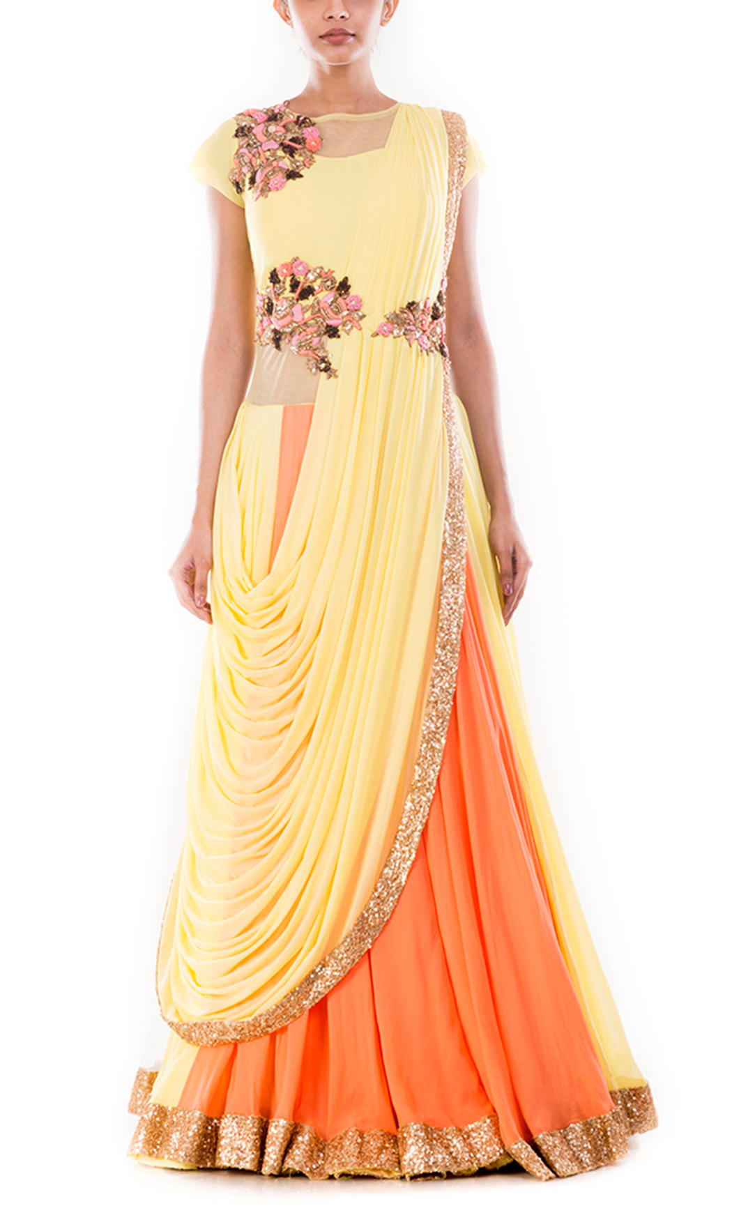 Yellow Corn & Peach Lehenga Gown Saree