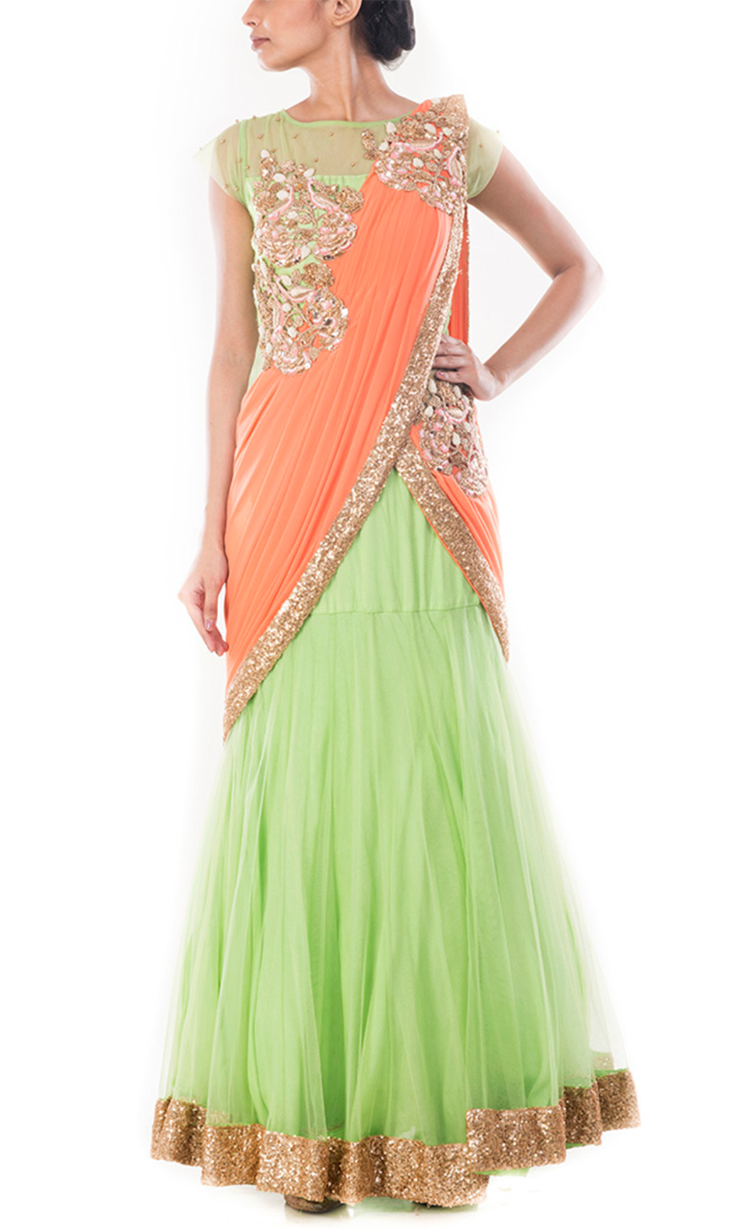 Spring Green Gown Saree