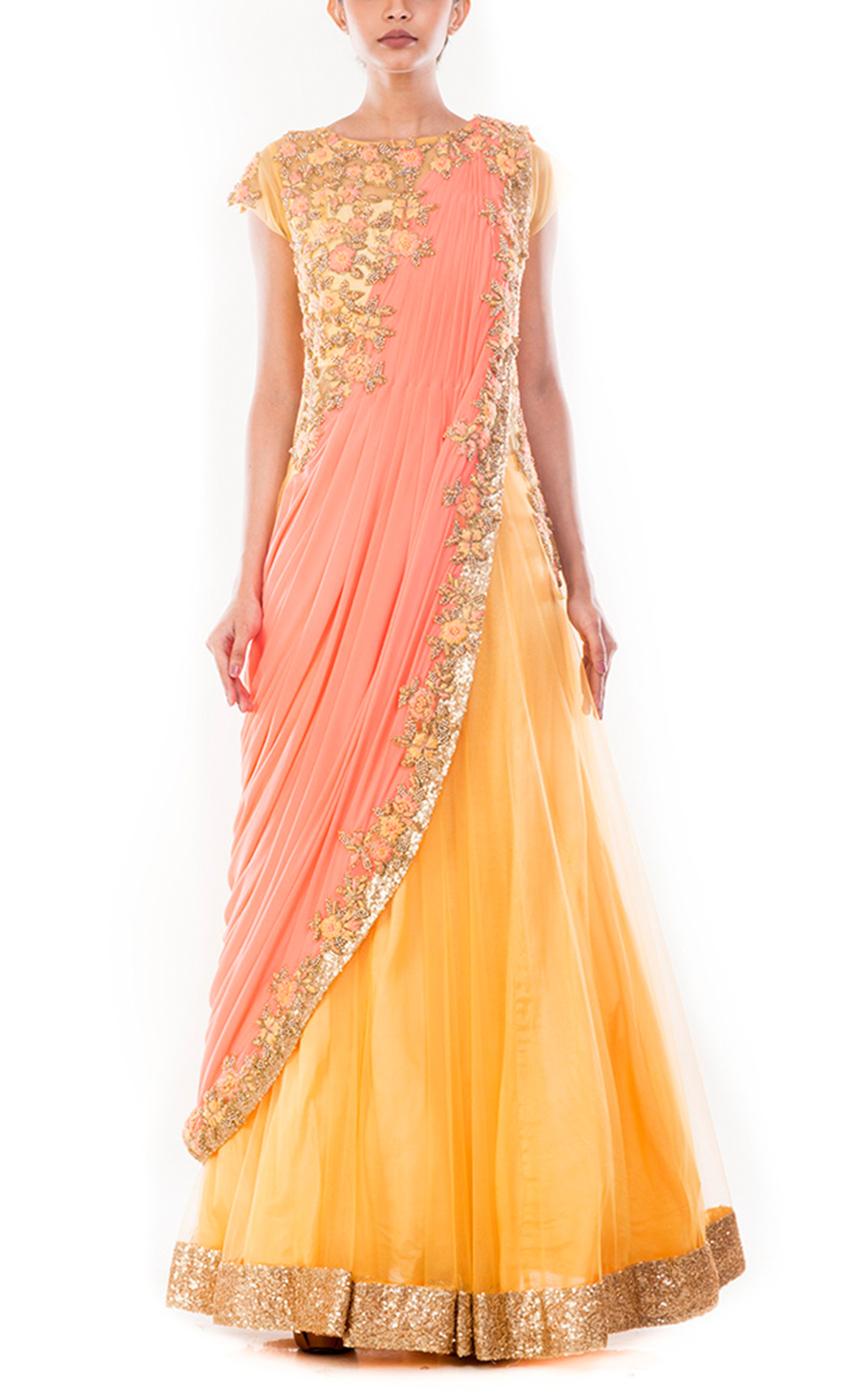 Mustard Yellow Gown Saree