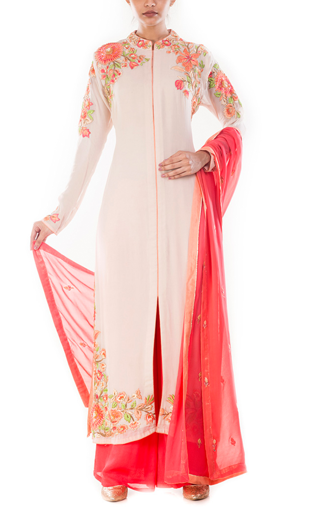Timid Pink & Scarlet Peach Palazzo