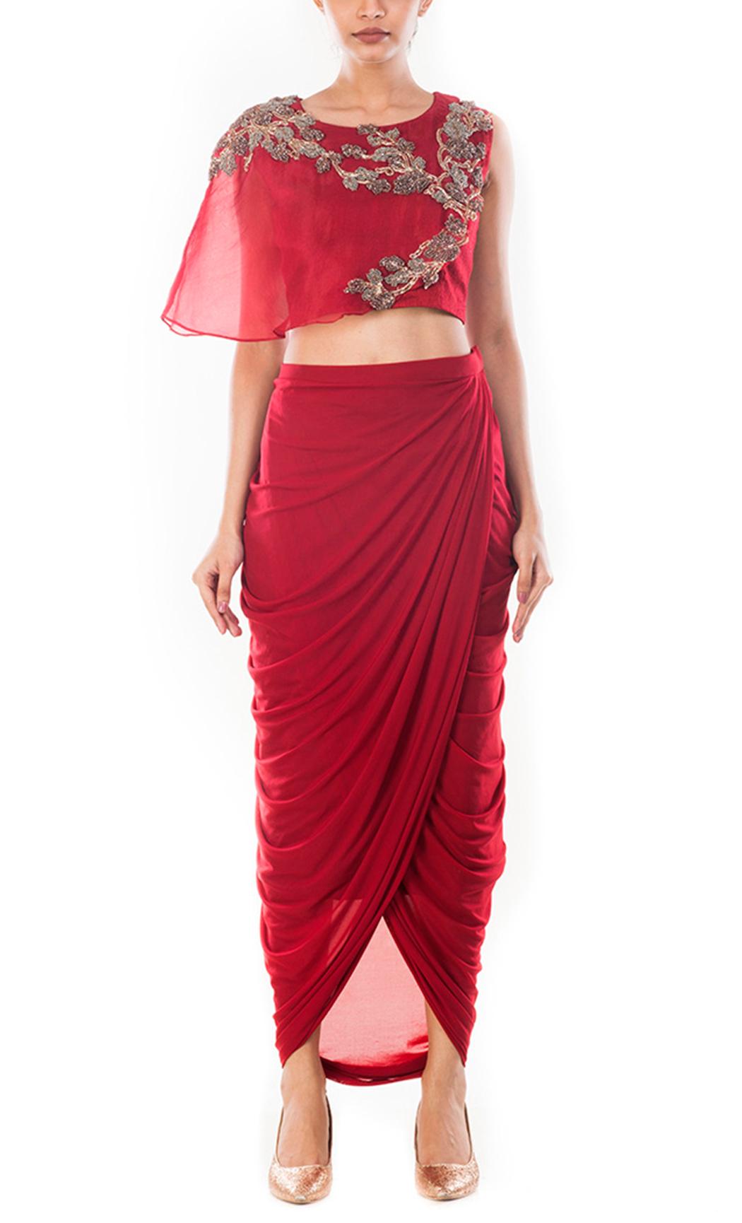 Maroon Crop Top & Draped Skirt