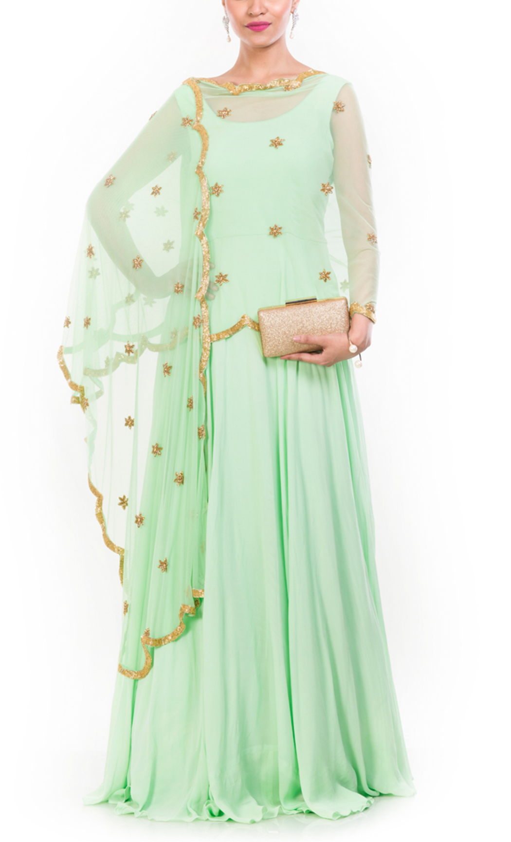 Georgette Lime Green Suit