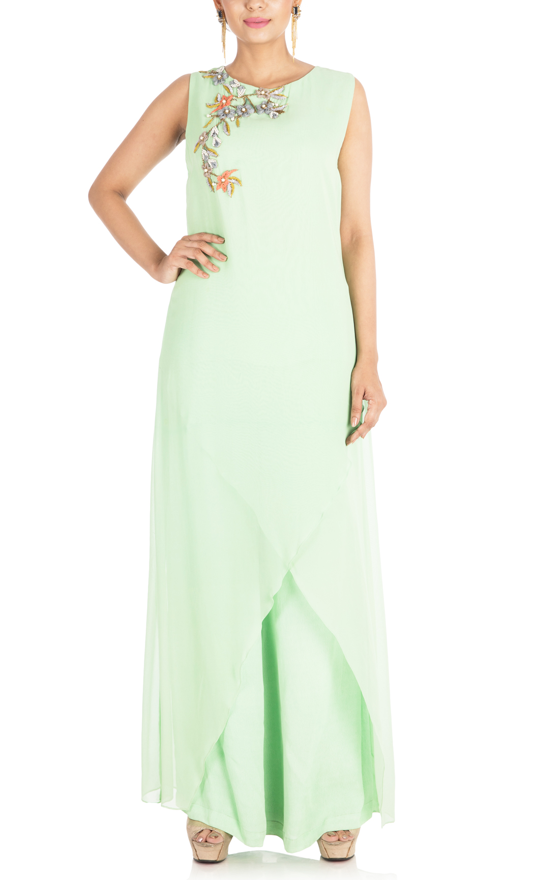 Light Green Embroidered Palazzo Set - Buy Online