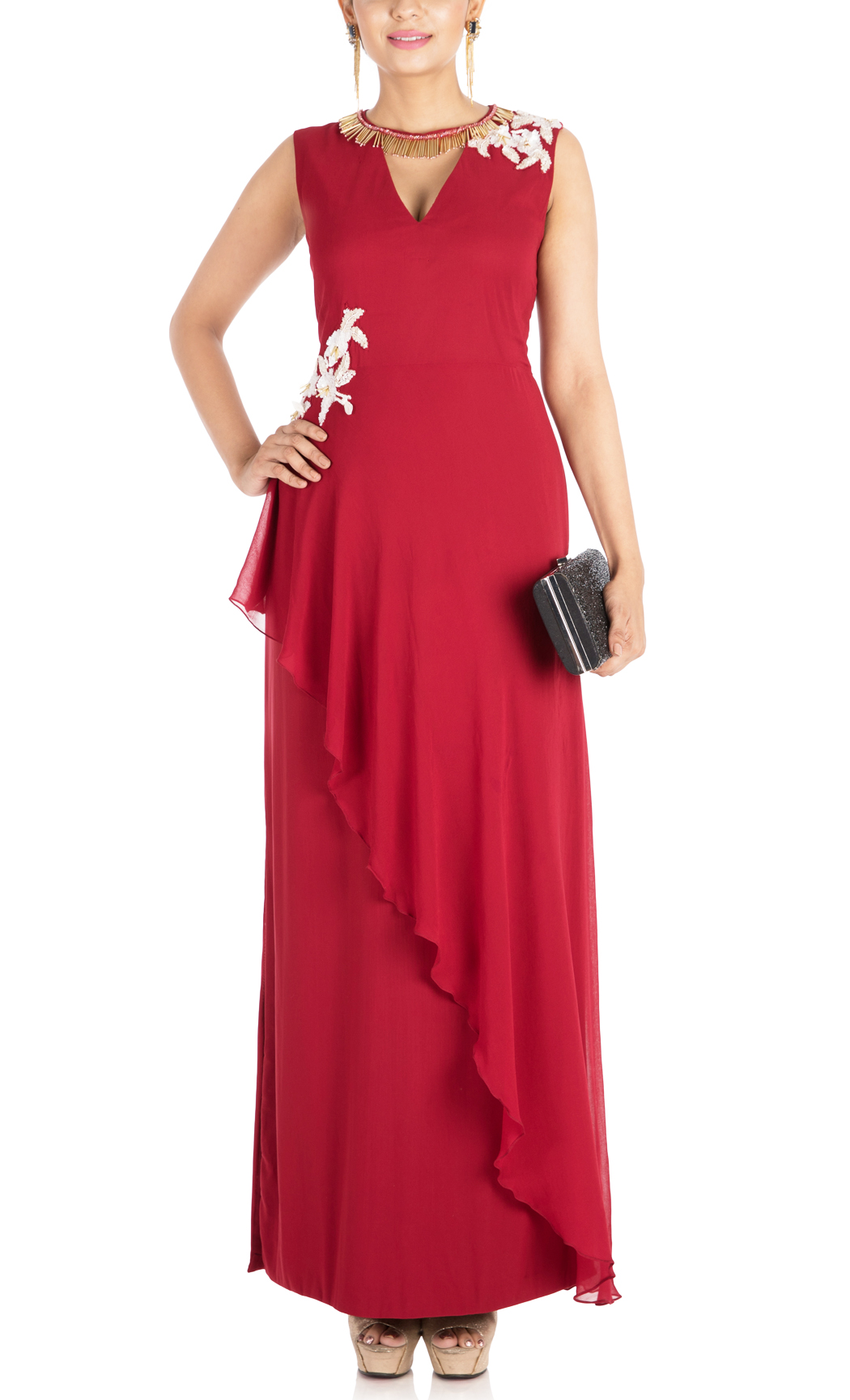 Crimson Red Asymmetrical Indowestern Layered Gown Dress - Buy Online
