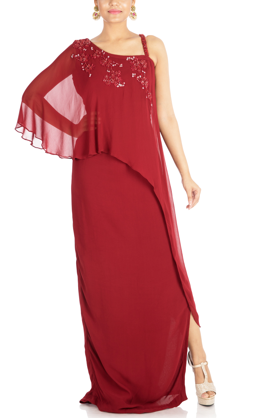 Maroon One-Sided Cape Gown Dress - Buy Online
