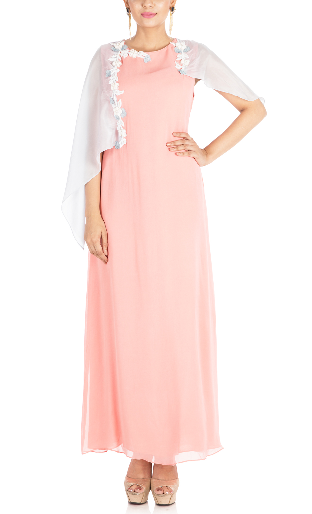 Peach Tunic with Embroidered Cape Sleeves - Buy Online