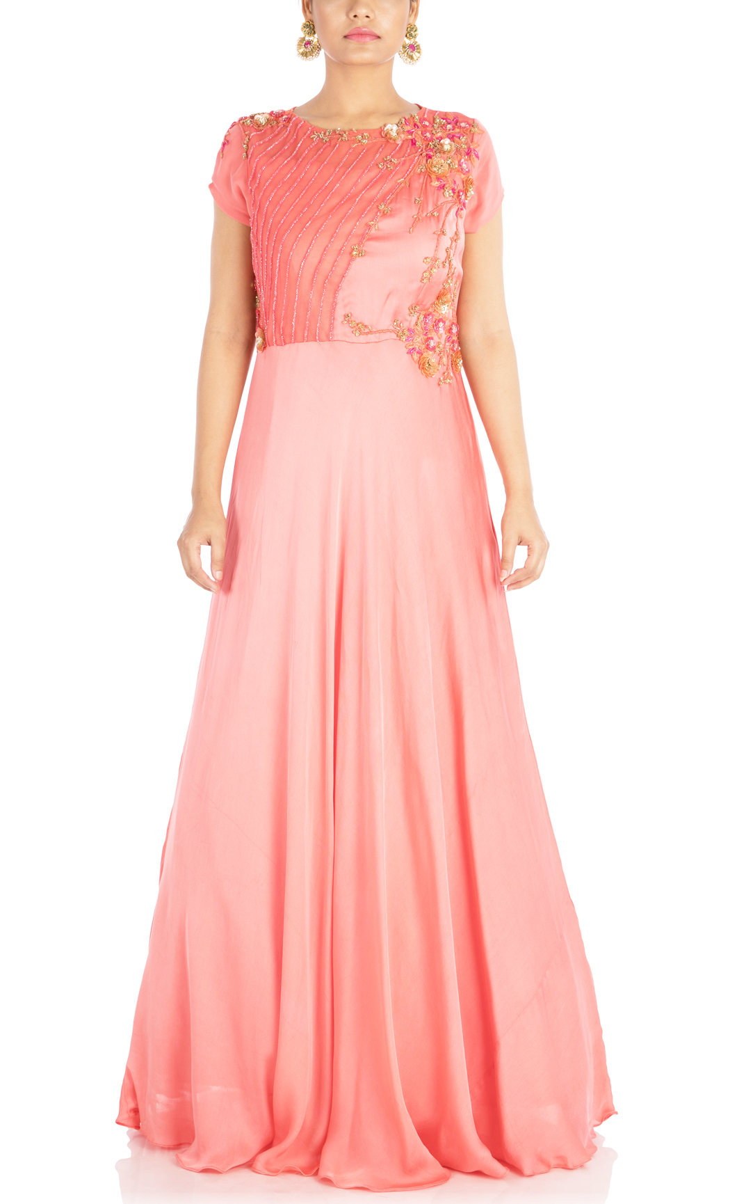 Blush Pink Embroidered Indowestern Gown - Buy Online