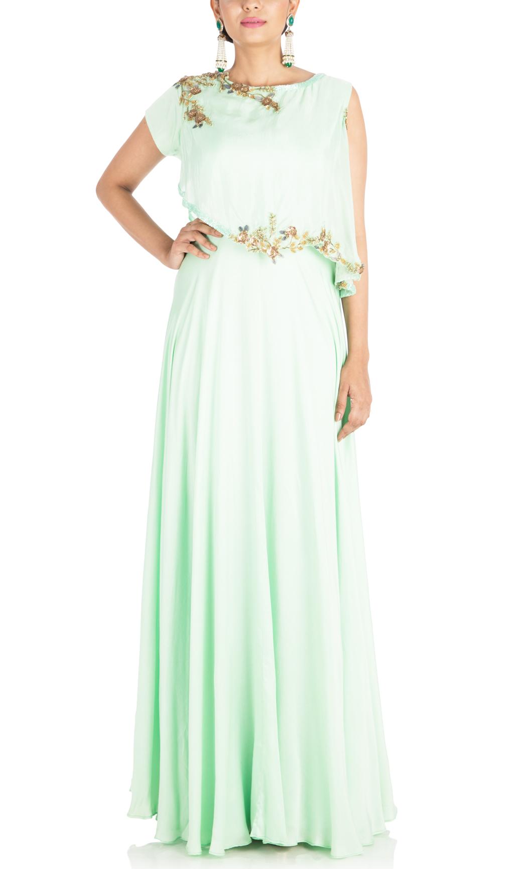 Light Green One-Sided Indowestern Kurta - Buy Online