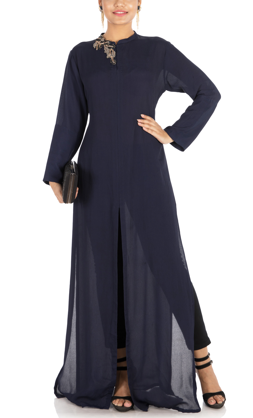 Midnight Blue Embroidered Tunic - Buy Online