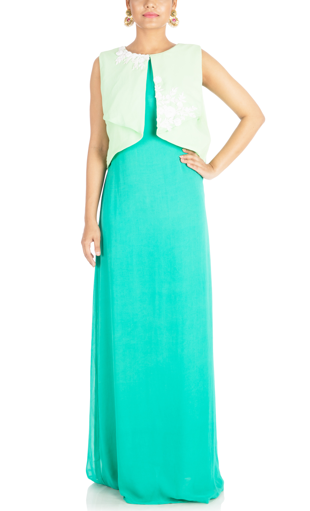 Green Tunic with a Pleated Yoke - Buy Online