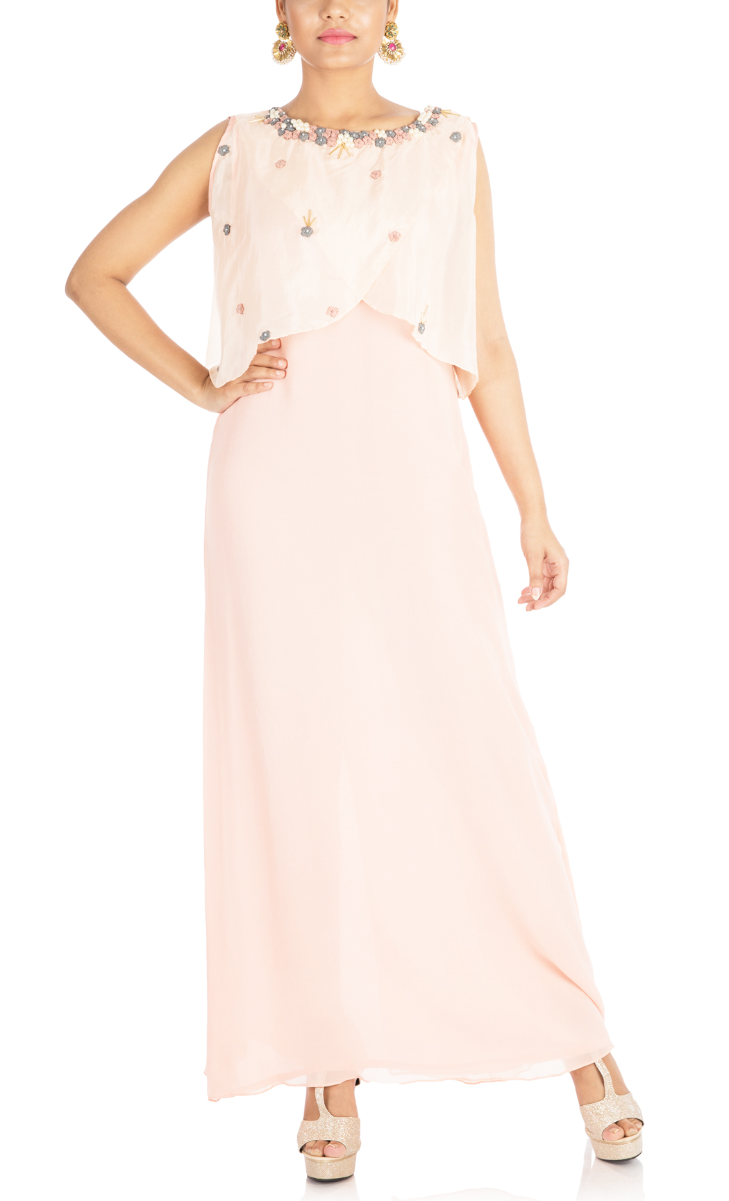 Powder Peach with Overlaped Cape - Buy Online