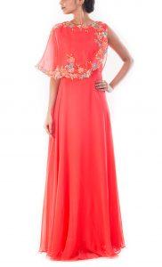 Coral Peach Cape Gown