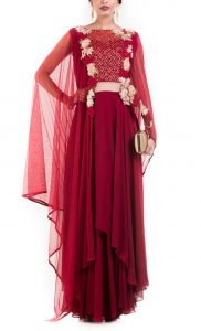 Wine Layered Suit with Attached Dupatta