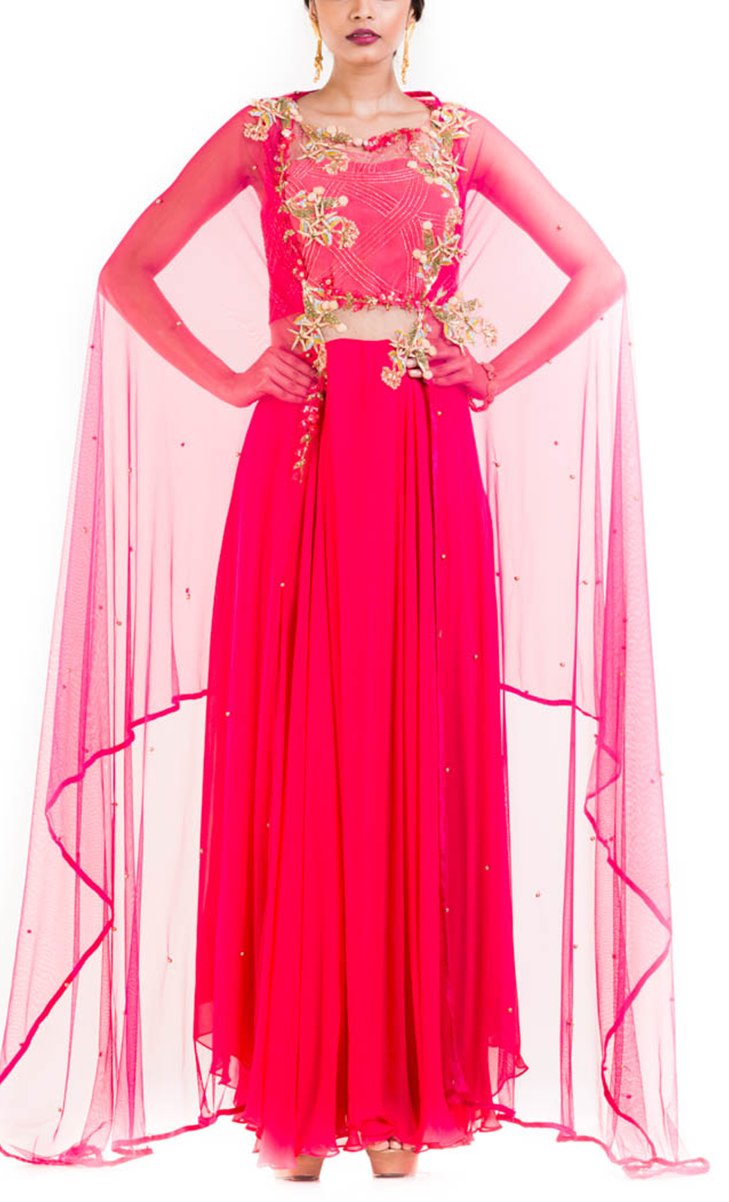 Fuscia Pink Suit with Attached Dupatta
