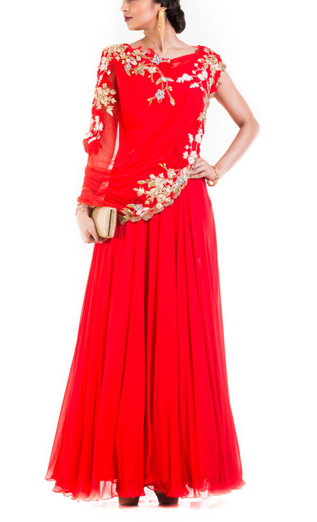 Red Gown with an Attached Draped Net Jacket