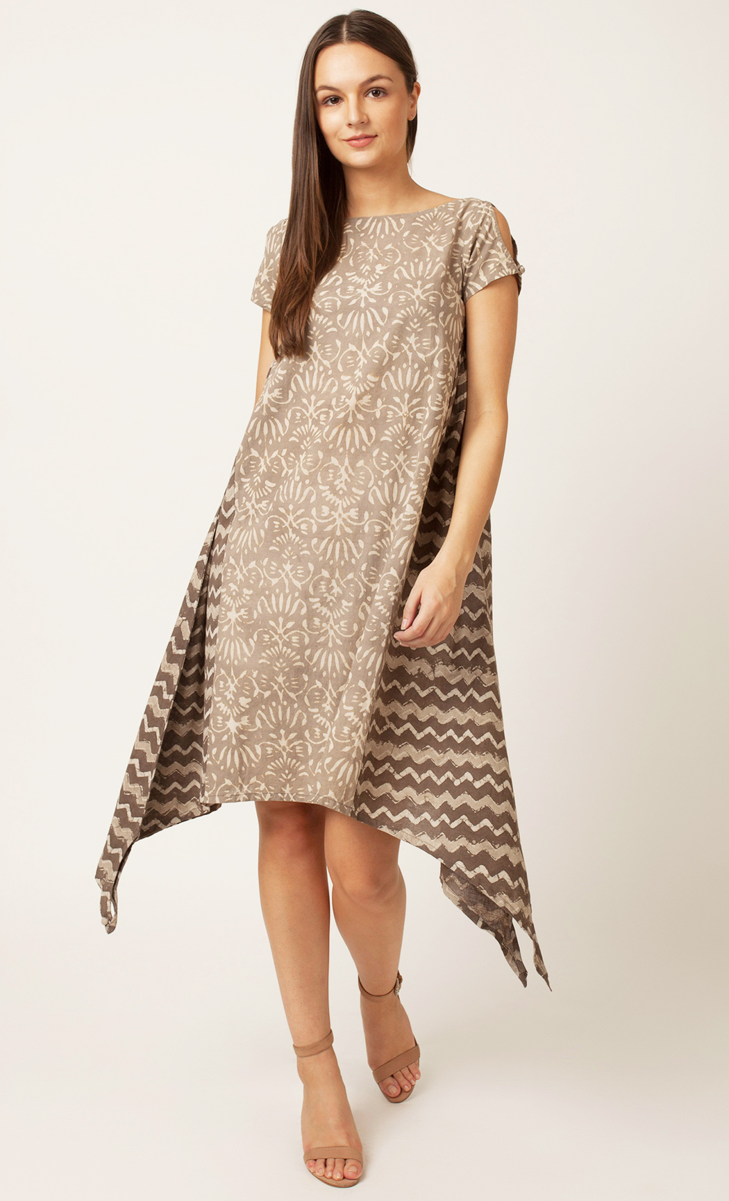 Grey Handblock Printed Dress. Buy Online