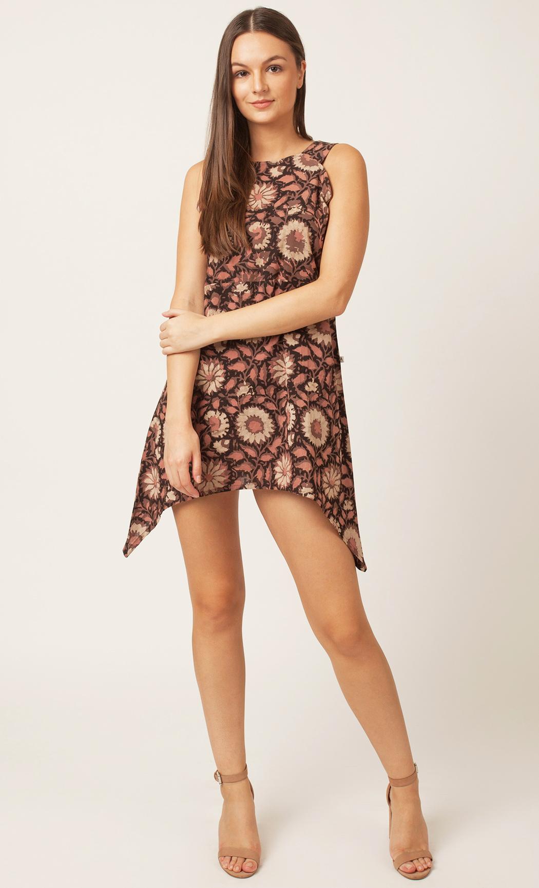 Black Handblock Printed Short Dress. Buy Online