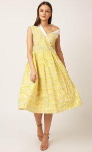 Yellow Handblock Printed One Shoulder Dress. Buy Online