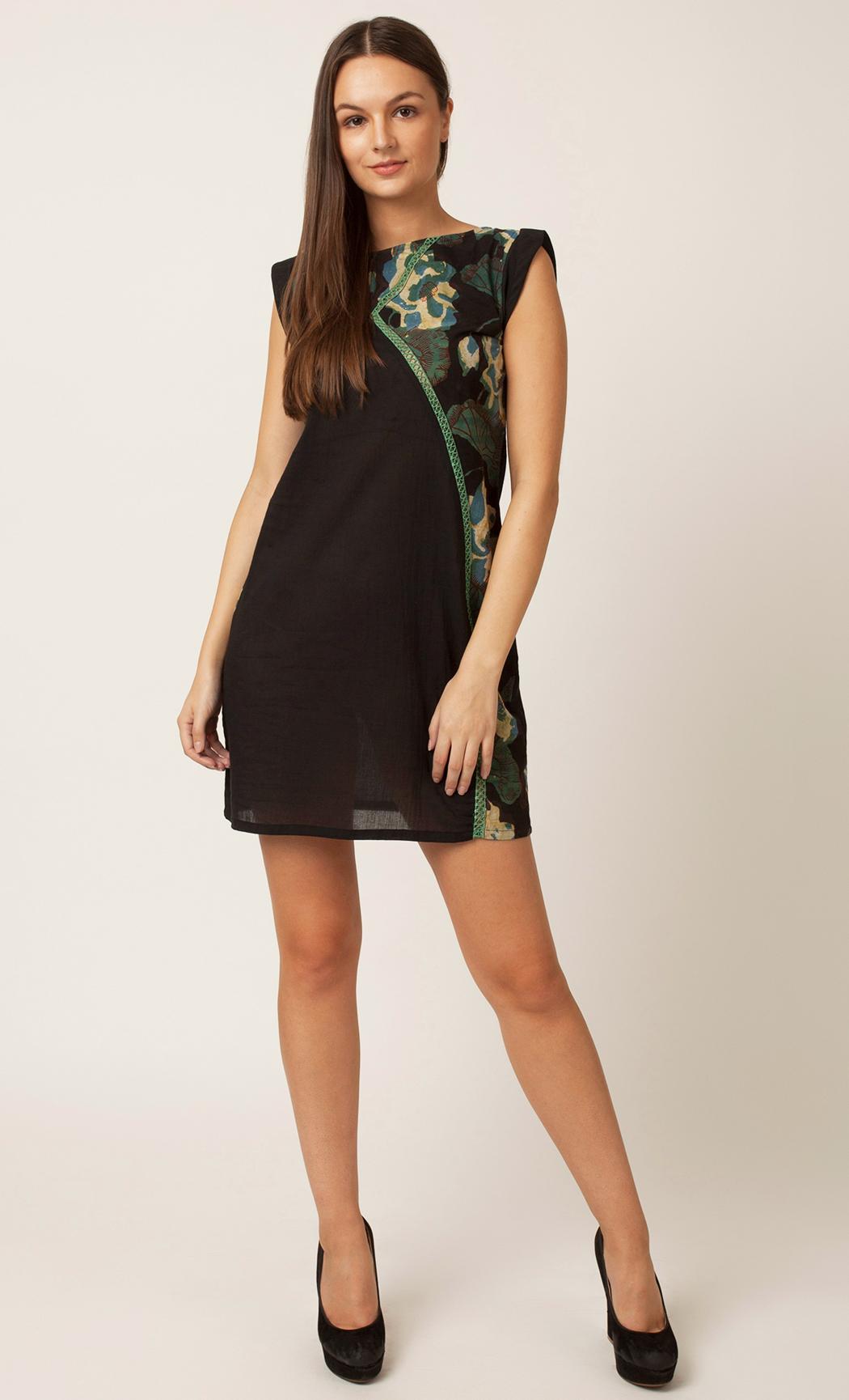Green Handblock Printed A-line Dress. Buy Online