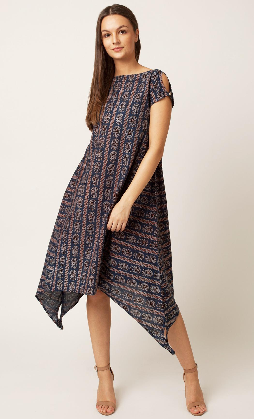 Multicolor Handblock Printed Dress. Buy Online
