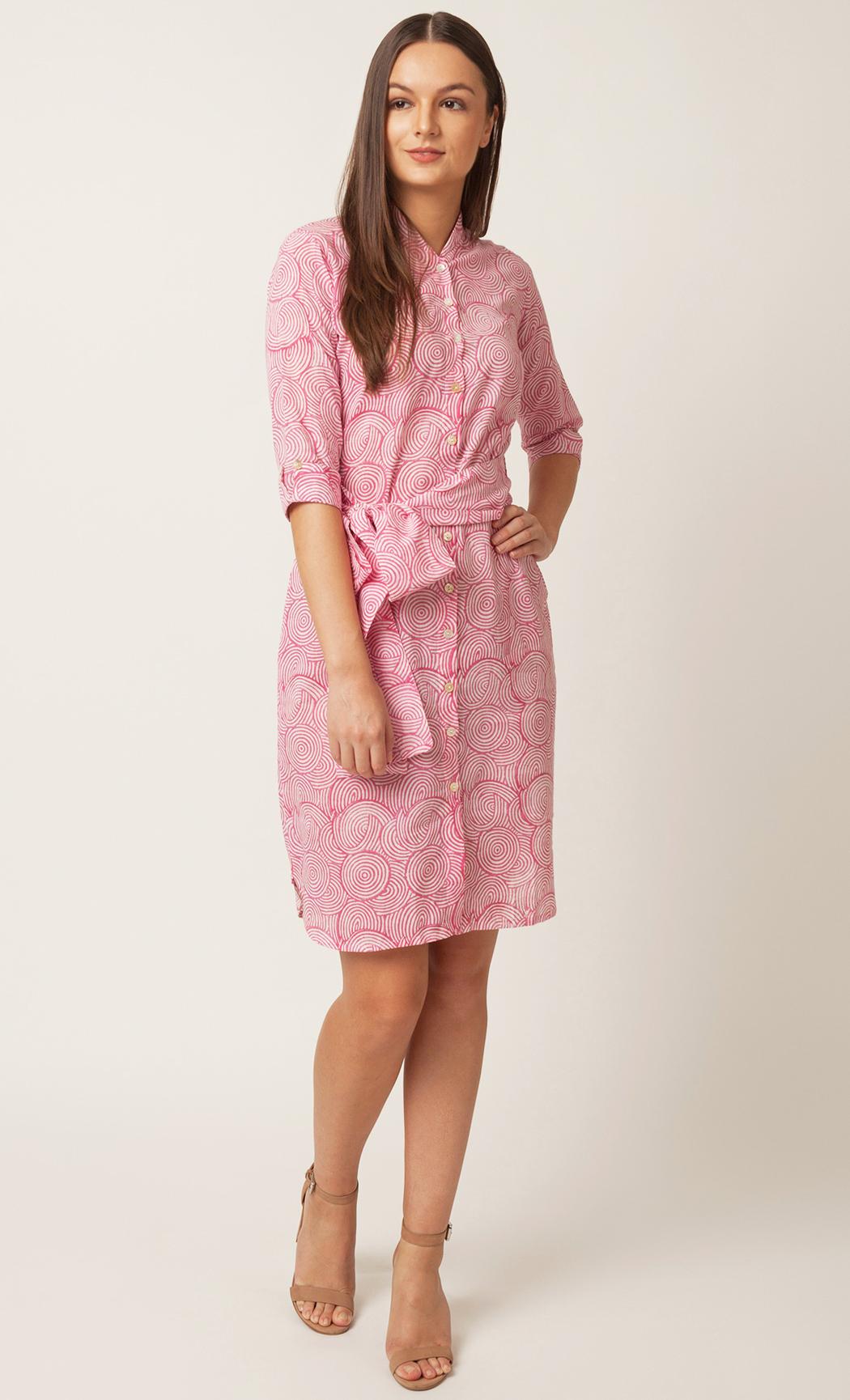 Pink Handblock Printed Shirt Dress. Buy Online