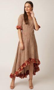Beige Handblock Printed Gown. Buy Online