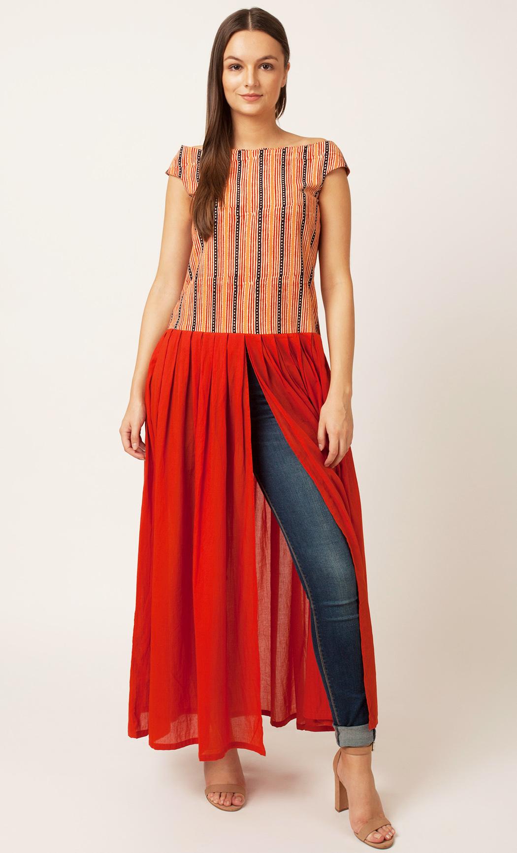 Rust Off- Shoulder Dress. Buy Online