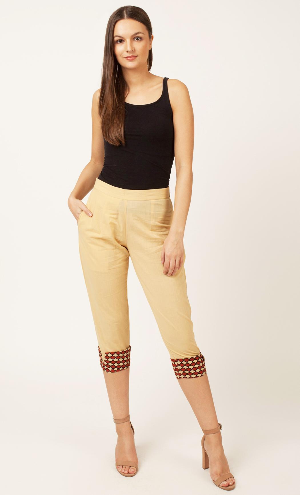 Beige Cuffed Pants. Buy Online