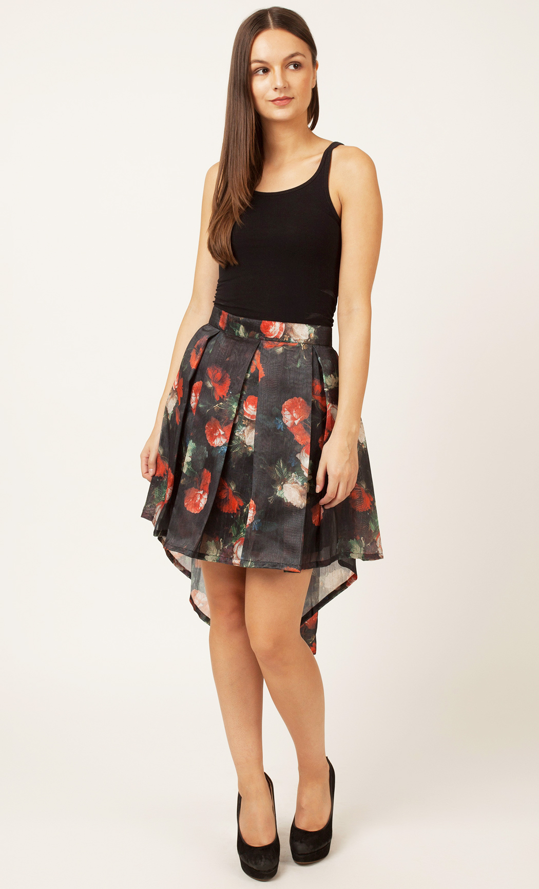 Red and Black Floral Printed Skirt. Buy Online