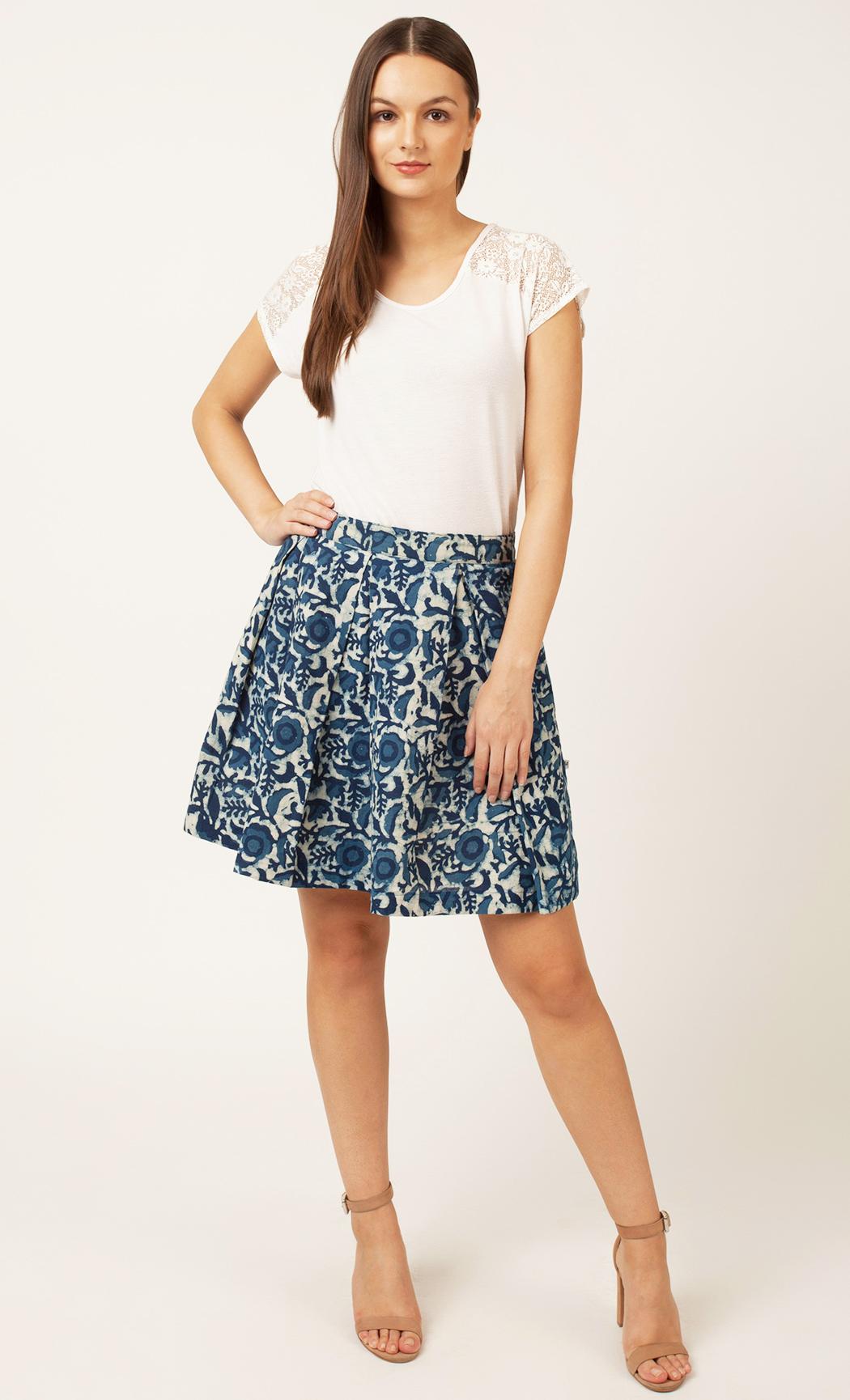 Blue Printed Skirt. Buy Online