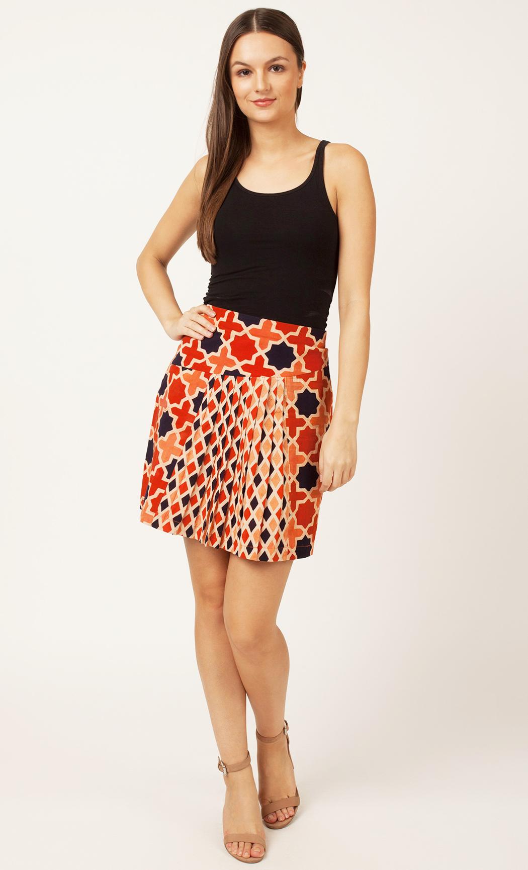 Rust Printed Skirt. Buy Online
