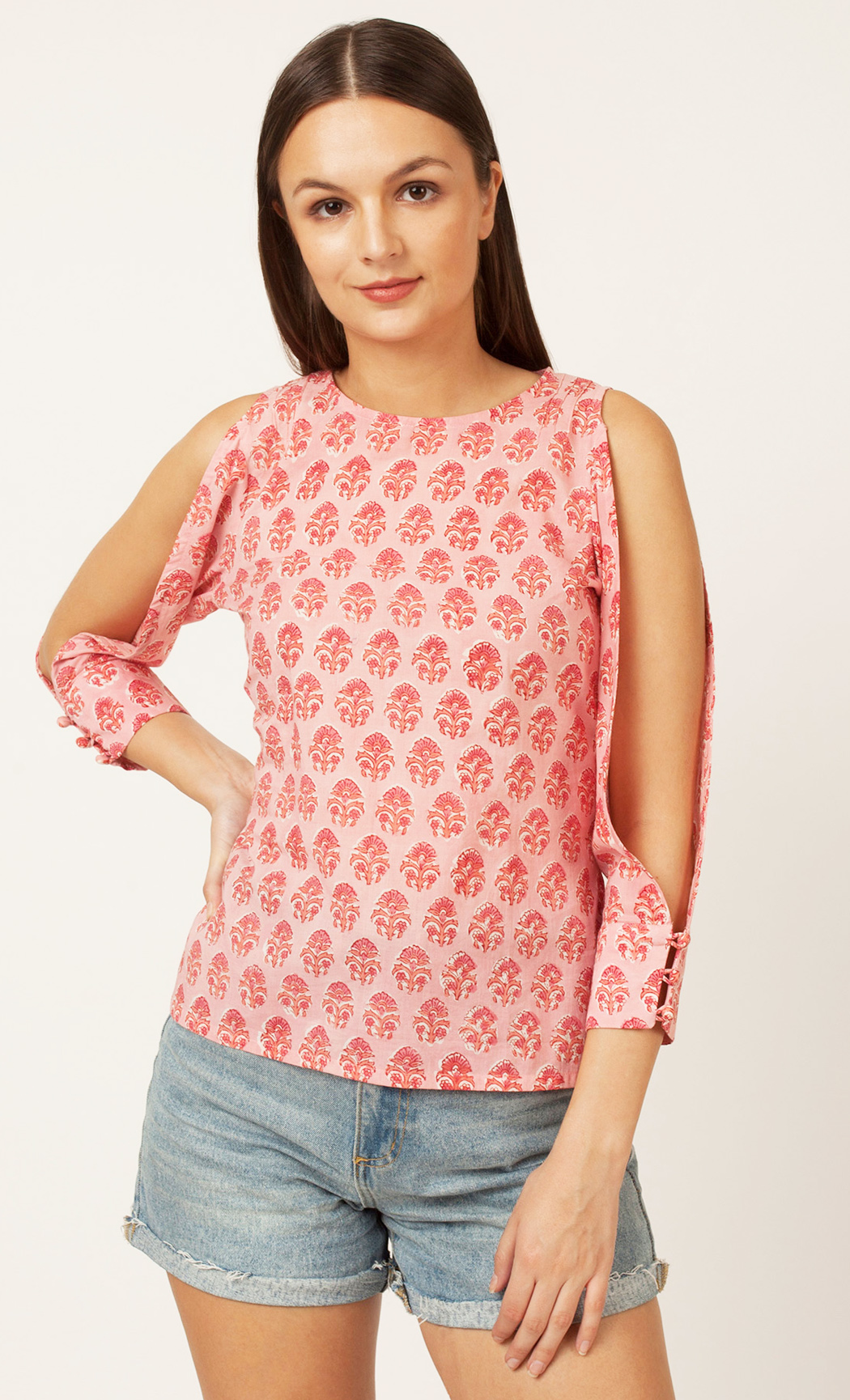 Pink Printed Cold Shoulder Top. Buy Online