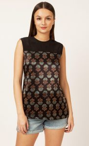 Black Printed Backless Top. Buy Online
