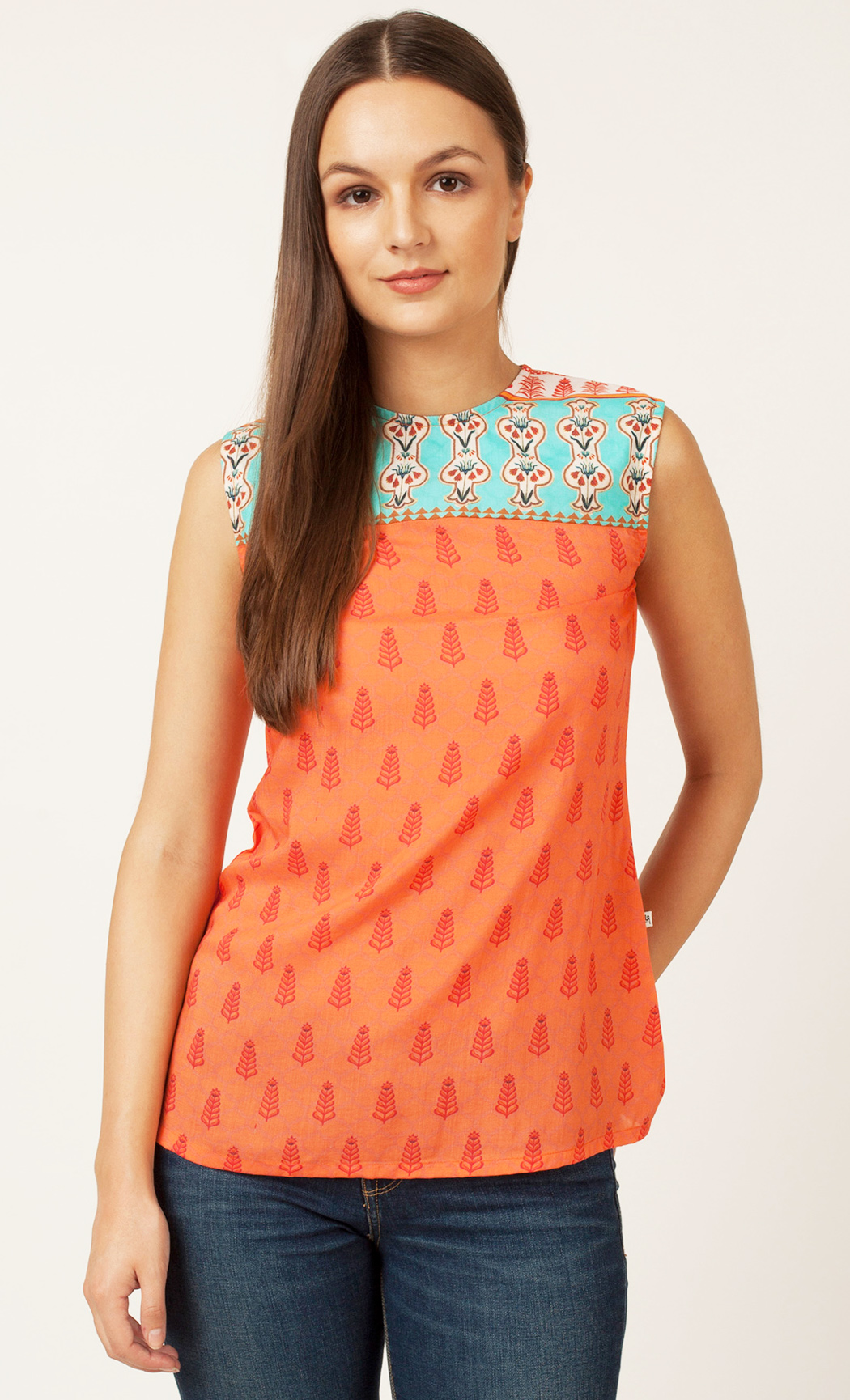 Peach Printed Backless Top. Buy Online