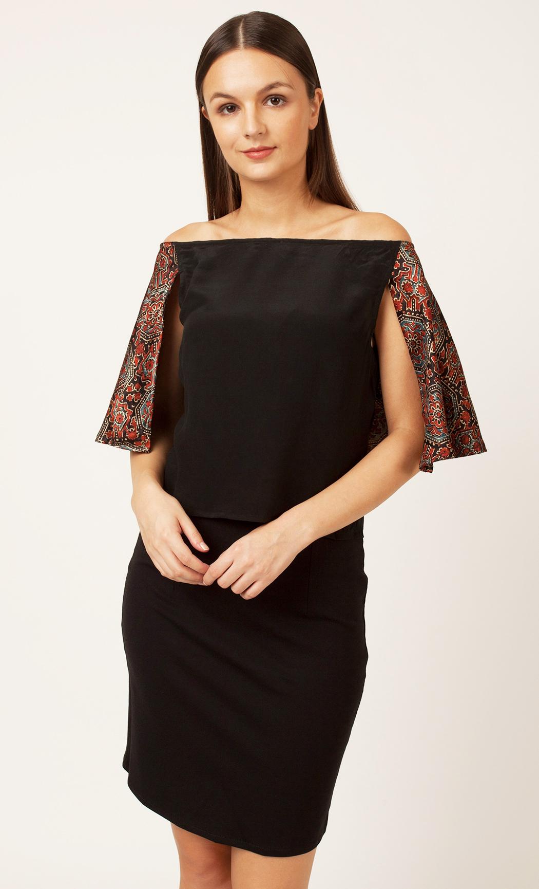 Black Printed Off Shoulder Top. Buy Online