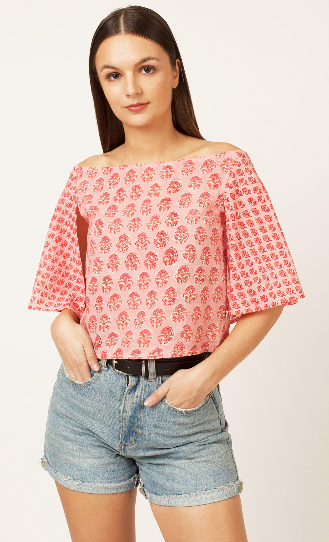 Pink Printed Off Shoulder Top. Buy Online