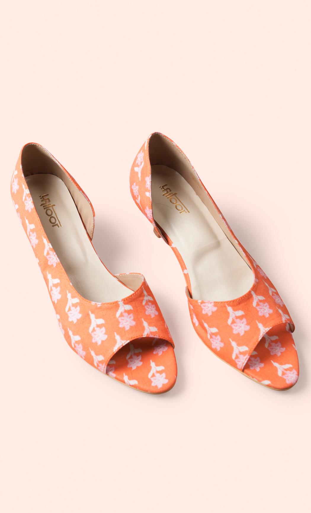Peach Printed Sandals. Buy Online.