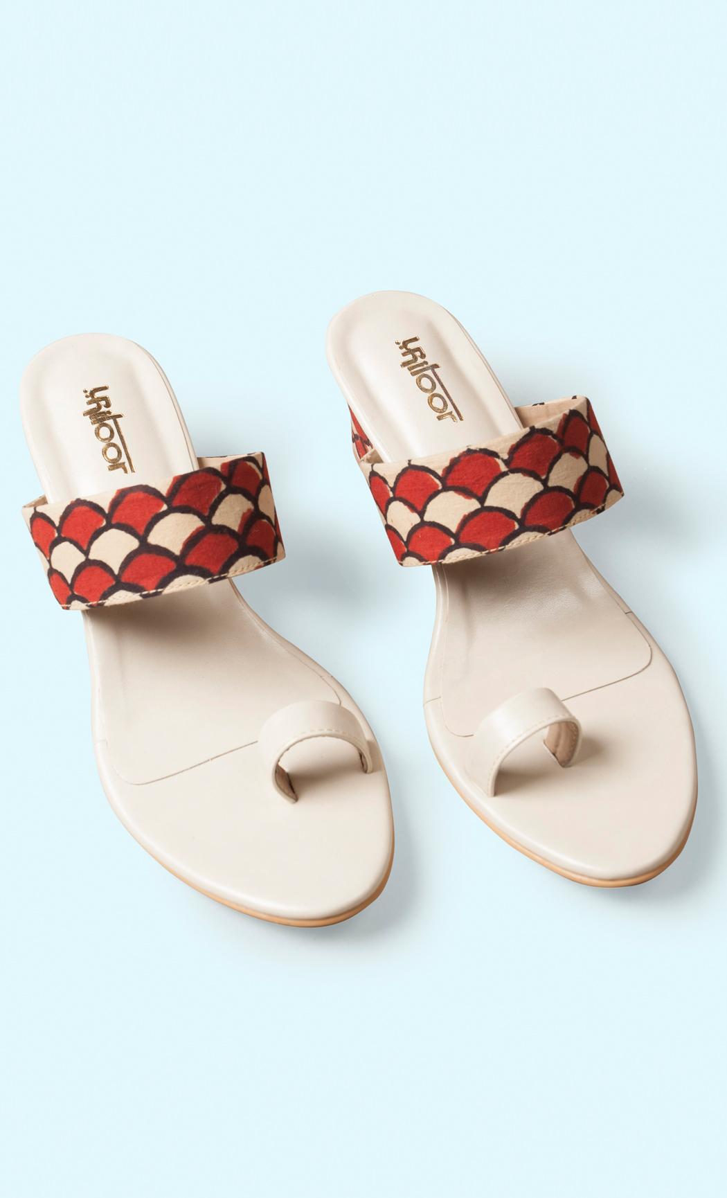 Cream Printed Flat Sandals. Buy Online.