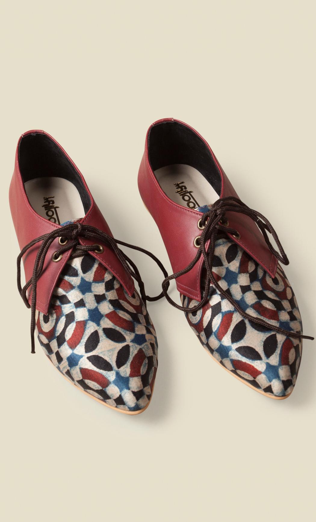 Maroon Printed Loafers. Buy Online.