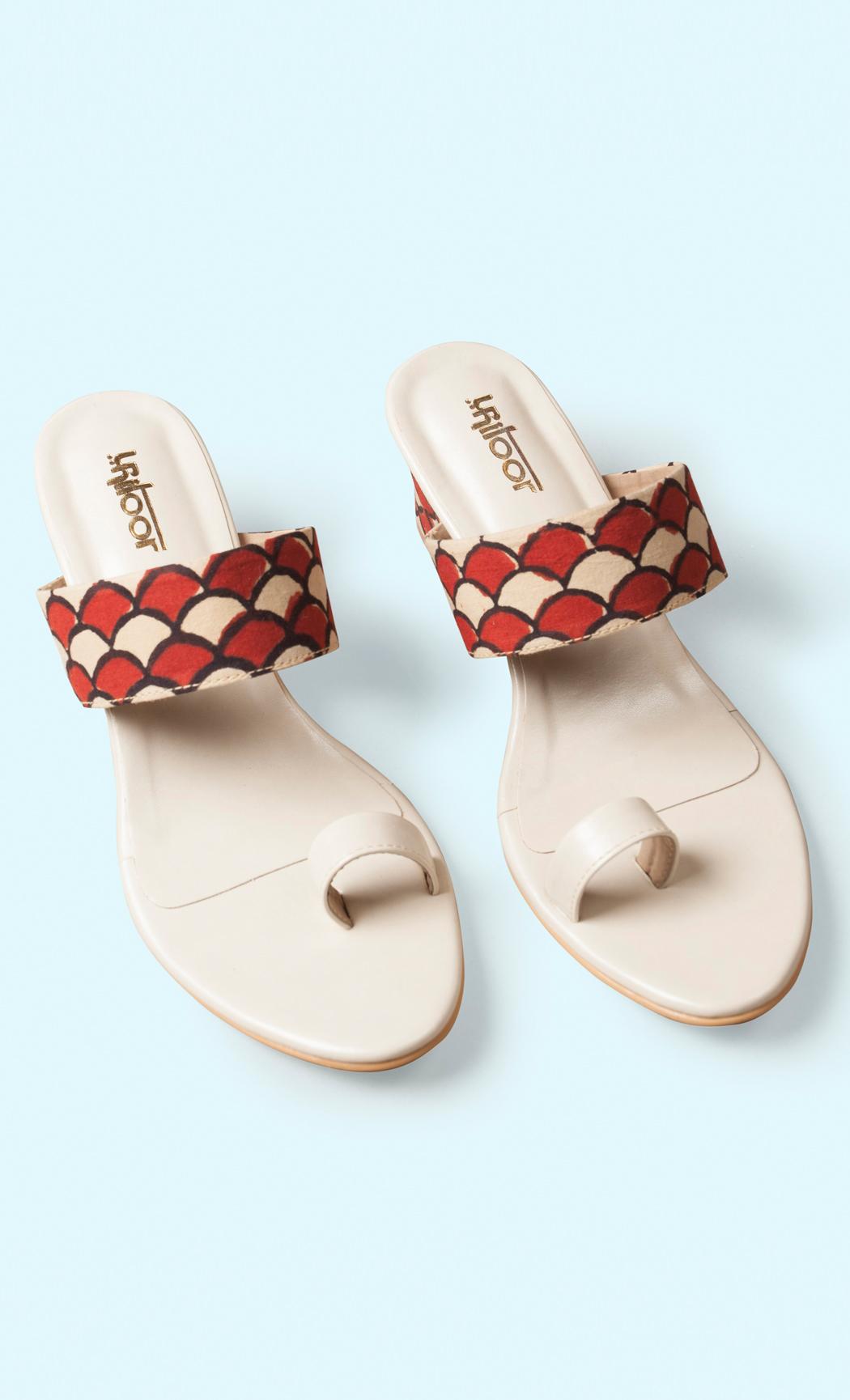Cream Printed Heel Sandals. Buy Online.