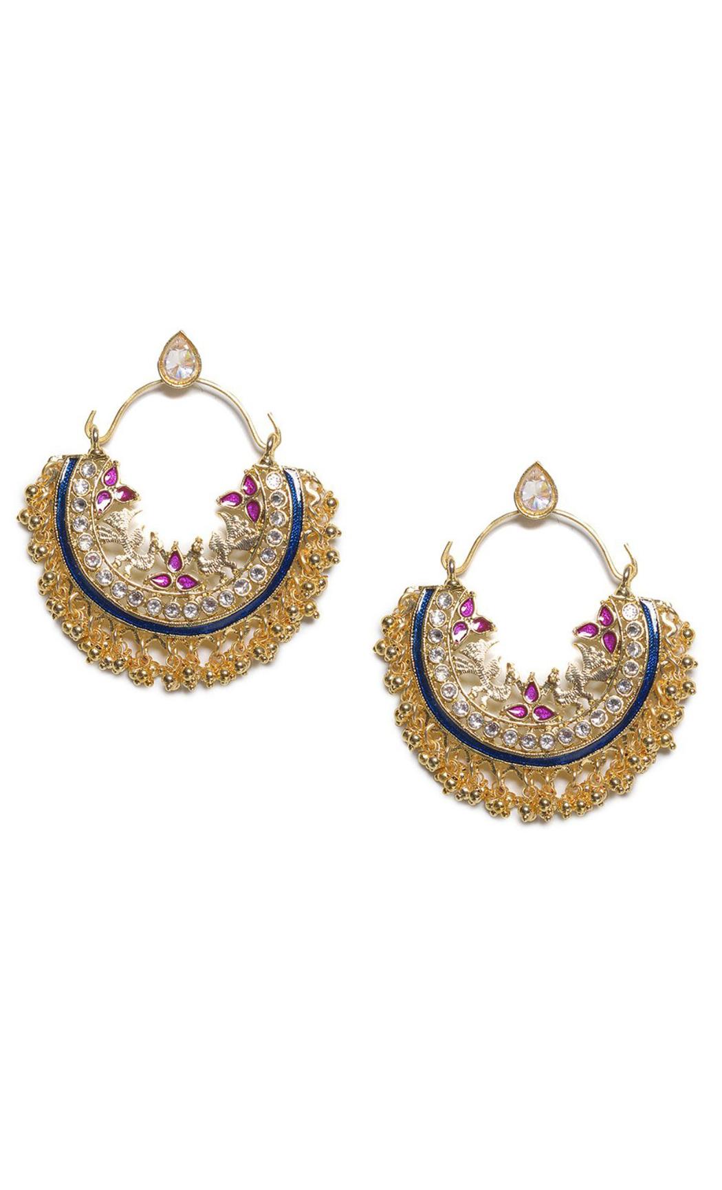 Blue Multi Crescent Chandbali Earrings - Shop Online