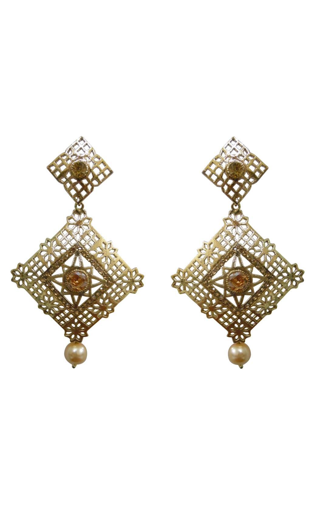 Lozenge Gold Earrings - Shop Online
