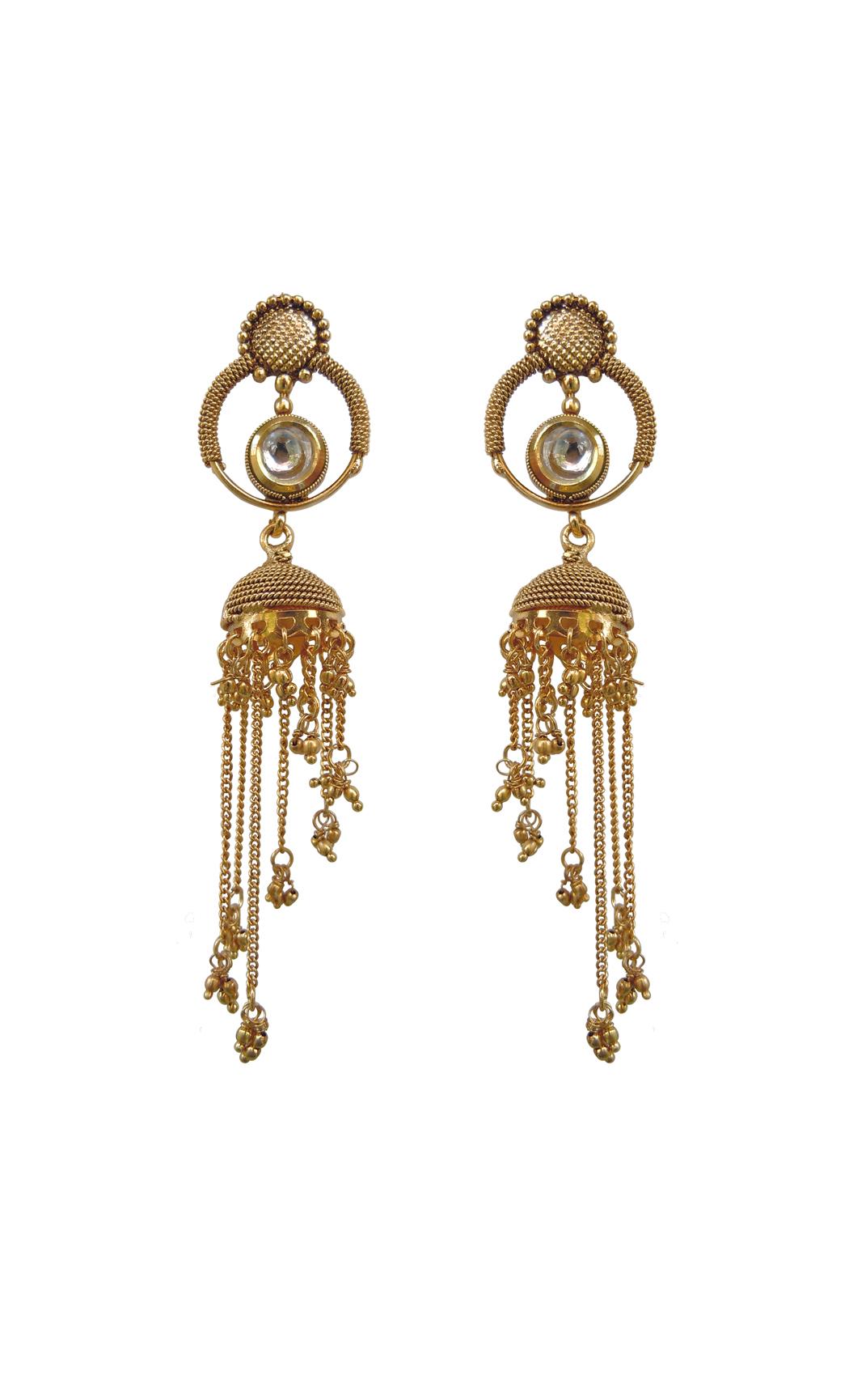 Gold Kundan Jhumkas - Shop Online